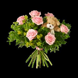 Bukett med rosa rosor och pistage samt en söt liten nalle.