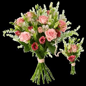 Familjebukett med rosa-vita rosor och alstromeria. Den lilla buketten är sammanbunden med den stora.