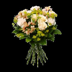 Bukett med blommor i ljusa färger. Nejlikor, rosor, alstromeria och grönt används till buketten.