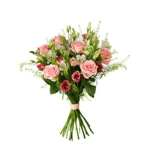 Bukett med rosor, prärieklocka, alstromeria och grönt. Finn hos Interflora.