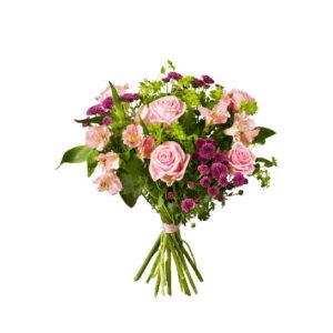 Bukett med rosa/lila rosor och santini. Finns hos Interflora.