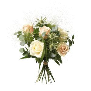Bukett med rosor i milda, ljusa färger, tistlar och grönt. En fin kondoleansbukett som du hittar hos Interflora.