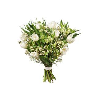 Tulpanbukett med tulpaner, alstroemeria och vaxblomma. Vita tulpaner. Finns att beställa som blommogram hos Interflora, en väletablerad blomsterförmedlare med lång erfarenhet av att skicka blommor.
