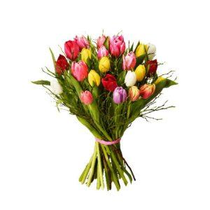 Bukett med tulpaner i blandade färger tillsammans med blåbärsris. Finns att beställa som blommogram hos Interflora, en väletablerad blomsterförmedlare med lång erfarenhet av att skicka blommor.
