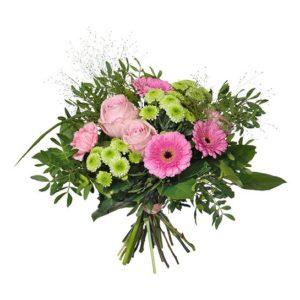 Bukett med vårbukett av rosor, nejlikor, santini, gerbera och gröna blad. Ur Interfloras sortiment av vårbuketter.