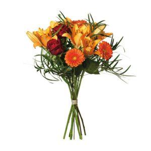 Höstbukett med asiatisk lilja, rosor och germini i orange och röda färger. Skicka blommorna med ett blommogram från Interflora och överraska din vän!