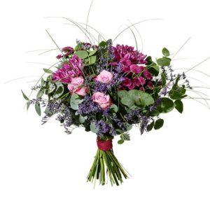 Blombukett med anastasia, rosor och santini. Blommor i rosa-lila. Finns att beställa som blommogram hos Interflora.