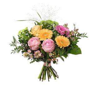 Bukett med rosor, gerbera, santini och vaxblomma. Pastellfärger. Superfin! Blommorna kommer från Interflora.