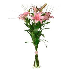 Blombukett med rosa liljor och steelgrass. Blommorna fins bland Interfloras morsdagsbuketter.