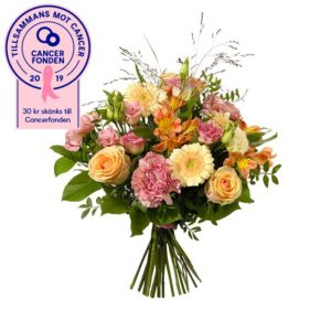 Höstbukett med rosor, prärieklocka, nejlikor, alstroemeria, germini och gröna blad. Ur Interfloras sortiment.