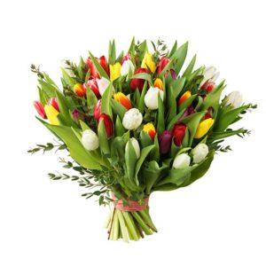 Bukett med tulpaner i blandade, glada färger tillsammans med grönt. Välj mellan tre storlekar på buketten. Beställ ett blommogram online hos Interflora!