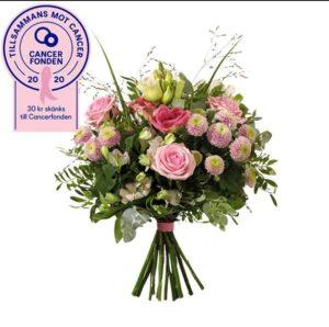 Blombukett med blommor i rosa; rosor, prärieklocka, krysantemum, alstroemeria samt eucalyptus och annat grönt. Superfin! Skicka blommorna med ett blommogram från Interflora - beställ enkelt online.